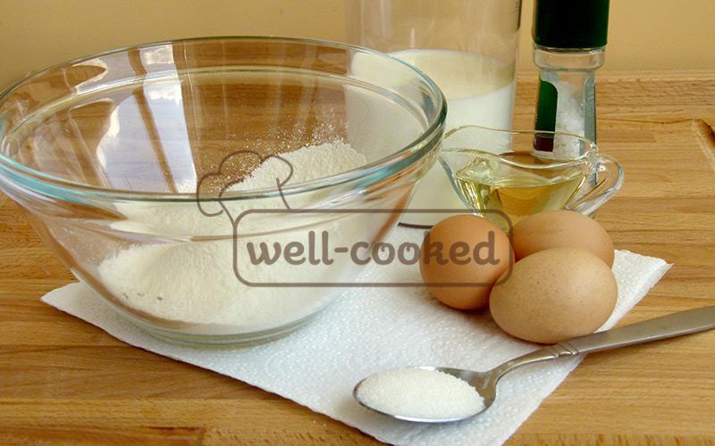 ингредиенты для тонких блинчиков